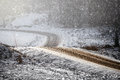 Curved And Windy Frosty Dirt Road Royalty Free Stock Photos - 36804888