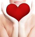 Beautiful Woman Holding Big Red Heart Royalty Free Stock Photo - 36810905