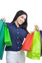 Happy Woman Holding Shopping Bags Stock Photography - 36821292