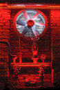 Industrial Turbine In Red Light And Old Pipes. Stock Image - 36841871