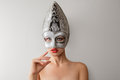 Beautiful Young Woman In Venetian Carnival Mask Royalty Free Stock Photos - 36875058