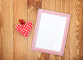 Blank Photo Frame And Red Valentine S Day Heart Toy Stock Image - 36886871