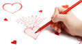 Childs Hand Drawing Saint Valentine Card Stock Images - 36887644
