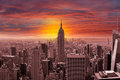 New York City Skyline With A Sunset Stock Images - 36895364