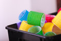 Colorful Hair Rollers Curlers In Basket. Hairdressing Beauty Salon. Royalty Free Stock Photography - 36897097