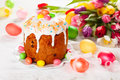 Easter Cake And Eggs Royalty Free Stock Photography - 36904217