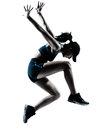 Woman Runner Jogger Jumping Silhouette Stock Photo - 36906250