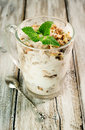 Walnut Ice Cream With Mint Leaves Stock Photography - 36906782