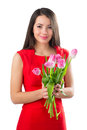 Beautiful Woman With Tulips Stock Photography - 36917432