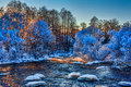 Mountain River And Snow Covered Trees Royalty Free Stock Images - 36926799