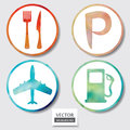 Set Of Four Icons. Web And Mobile Apps Circle Watercolor Button. Royalty Free Stock Photography - 36943147