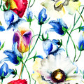 Seamless Wallpaper With Colorful Summer Flowers Royalty Free Stock Images - 36967849