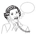 Popart Comic Retro Woman Talking By Phone Stock Images - 36968034