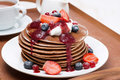 Pancakes With Cream, Fruit Sauce And Berries On Wooden Tray Stock Photo - 36978300