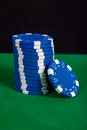 Stack Of Blue Chips On A Green Playing Table Stock Images - 36988184