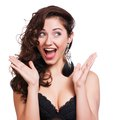 Studio Shot Of Funny Surprised Woman Royalty Free Stock Photos - 37001028