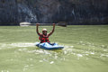 LIVINGSTONE - OCTOBER 01 2013: Extreme Kayaker Gets Ready To Att Royalty Free Stock Image - 37001486