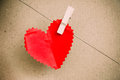 Heart Paper With Clothespin Royalty Free Stock Photography - 37002607