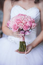 Beautiful Wedding Bouquet In Hands Of The Bride Stock Images - 37005424