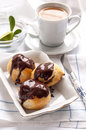 Homemade Profiteroles With Chocolate Cream Royalty Free Stock Photo - 37010385