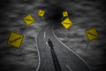 Winding Road With Road Signs  Dangerous  Stock Image - 37013861