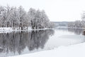 Trees In The Snow And Not Yet Frozen River Royalty Free Stock Photo - 37015165