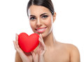 Cute Woman With Red Heart Stock Image - 37048801