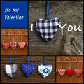 Set Collage Valentine S Love Message With Colorful Fabric Hearts Royalty Free Stock Images - 37065879