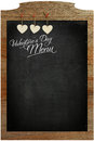 Valentine S Day Menu Chalkboard White Love Hearts Hanging On Woo Royalty Free Stock Photo - 37066295