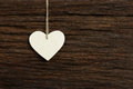 White Love Valentine S Heart Hanging On Wooden Texture Backgroun Royalty Free Stock Images - 37069579