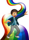 A Boy Dancing Above The Rainbow Royalty Free Stock Photo - 37071845