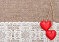 Valentine Card With Wooden Hearts And Lacy Cloth Stock Photo - 37091040