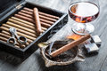 Burning Cigar In Ashtray And Cognac Stock Photos - 37096473