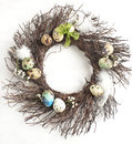 Easter Egg Wreath On A White Wooden Background. Stock Image - 37098691