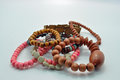 Assorted Beaded Wooden Bracelets Jewellery Royalty Free Stock Image - 37122106