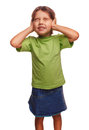Teen Girl Baby Hands Covering Her Ears And Closed Royalty Free Stock Photography - 37124297