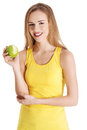 Beautiful Causal Caucasian Woman Holding Fresh Green Apple With Royalty Free Stock Photos - 37125678