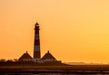 Light House Westerhever At Afternoon,against A Sunset Stock Images - 37127304
