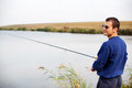 Cool Guy Fishing Royalty Free Stock Photo - 37181955