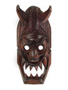 WOODEN MASK WITH HORNS  Royalty Free Stock Photo - 37189195
