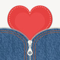 Jeans Background With Zipper And Heart Royalty Free Stock Image - 37199926