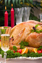 Christmas Turkey On Holiday Table Royalty Free Stock Photos - 3726118