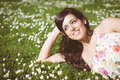 Brunette Happy Woman Relaxing Lying On Grass Royalty Free Stock Photos - 37211308