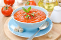 Cold Tomato Soup Gazpacho With Basil And Croutons In A Bowl Royalty Free Stock Photo - 37217635
