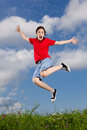 Girl Jumping Outdoor Stock Image - 37242171