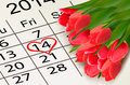 Valentines Day Calendar. February 14 Of Saint Vale Royalty Free Stock Images - 37247579