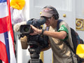 Foreign Journalist At An Event The Protests In Thailand. Stock Photos - 37250953