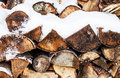 Stacked Chopped Firewood Covered By Snow In Winter Stock Images - 37256284