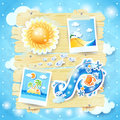 Summer Background With Paper Elements Stock Photos - 37282323