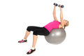 Dumbbell Chest Fly On Stability Fitness Ball Exercise Royalty Free Stock Photography - 37288777